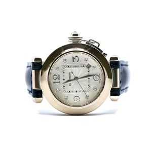 Pasha De Cartier 18k White Gold Diamonds Watch